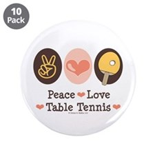 """Peace Love Table Tennis 3.5"""" Button (10 pack)"""