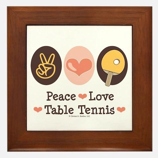 Peace Love Table Tennis Framed Tile