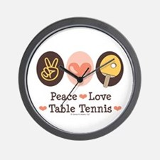 Peace Love Table Tennis Wall Clock