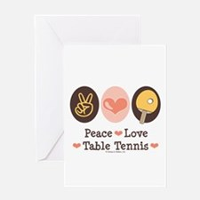 Peace Love Table Tennis Greeting Card