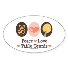 Peace Love Table Tennis Oval Decal