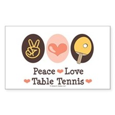 Peace Love Table Tennis Rectangle Decal