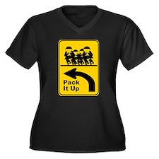 Derby Gear Women's Plus Size V-Neck Dark T-Shirt