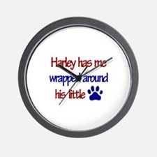 Harley Has Me Wrapped Around Wall Clock
