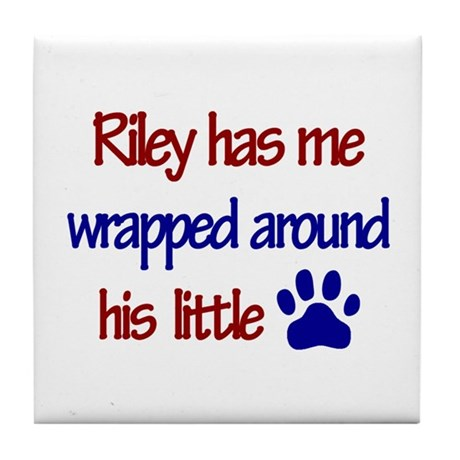 Riley Has Me Wrapped Around H Tile Coaster