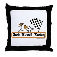 Jack Russell Racing Throw Pillow