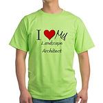I Heart My Landscape Architect Green T-Shirt