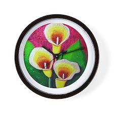 Three Calla Lilies by Barbara McMillan Wall Clock