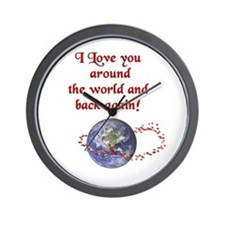 Love You Around the World and Back Wall Clock