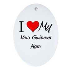 I Love My New Guinean Mom Oval Ornament