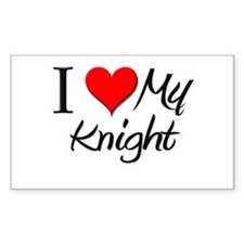 I Heart My Knight Rectangle Decal