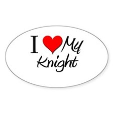 I Heart My Knight Oval Decal