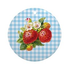 Retro Strawberry Ornament (Round)