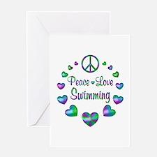 Peace Love Swimming Greeting Card