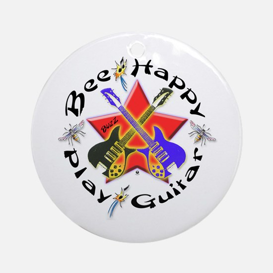 Play Guitar Ornament (Round)
