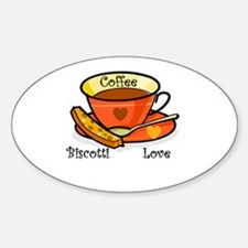 Coffee Biscotti Love Oval Decal