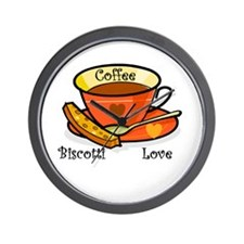 Coffee Biscotti Love Wall Clock