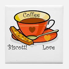 Coffee Biscotti Love Tile Coaster