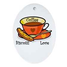 Coffee Biscotti Love Oval Ornament