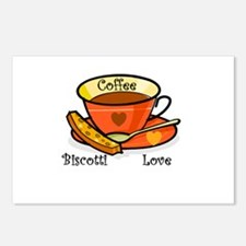 Coffee Biscotti Love Postcards (Package of 8)