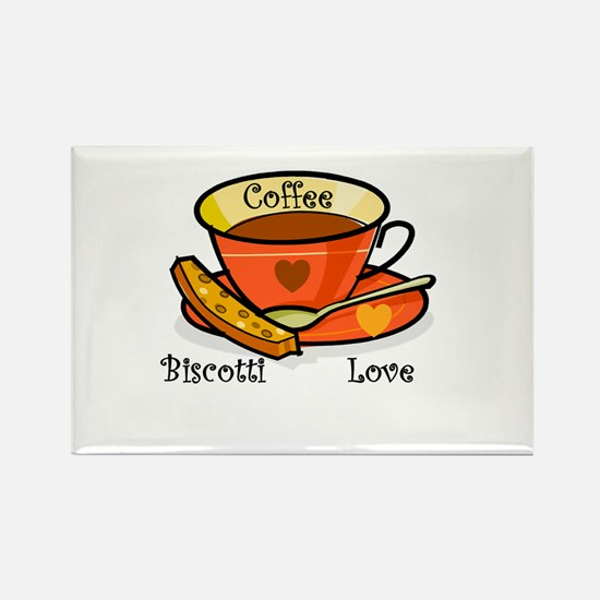 Coffee Biscotti Love Rectangle Magnet (10 pack)