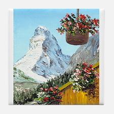 Matterhorn with flowers Tile Coaster