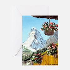 Matterhorn with flowers Greeting Card