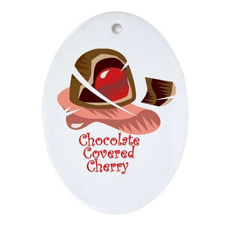 Chocolate Covered Cherry Oval Ornament