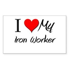 I Heart My Iron Worker Rectangle Decal