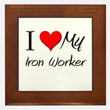 I Heart My Iron Worker Framed Tile