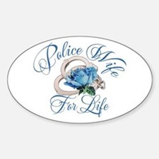 Police Wife For Life Oval Decal