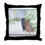 Christmas Newfoundlands Throw Pillow