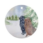 Christmas Newfoundlands Ornament (Round)