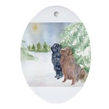Christmas Newfoundlands Oval Ornament