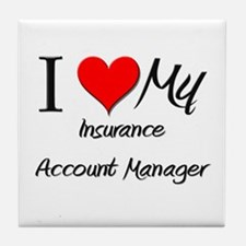 I Heart My Insurance Account Manager Tile Coaster