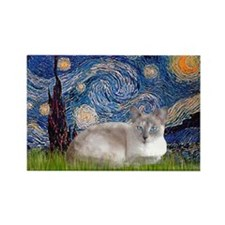 Starry / Lilac Pt Siamese cat Rectangle Magnet