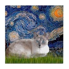 Starry / Lilac Pt Siamese cat Tile Coaster