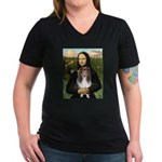 Mona Lisa's Sheltie (S) Women's V-Neck Dark T-Shir