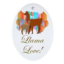 Llama Love! Oval Ornament