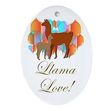 Llama Love! Oval Ornament
