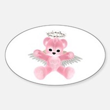 PINK ANGEL BEAR Oval Decal