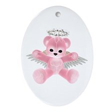 PINK ANGEL BEAR Oval Ornament