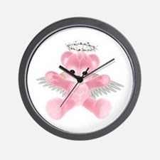 PINK ANGEL BEAR Wall Clock