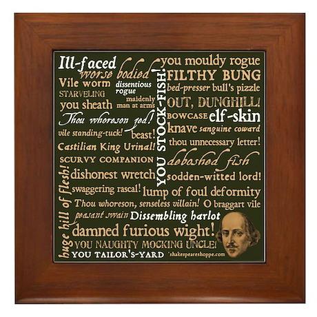 Shakespeare Insults Framed Tile