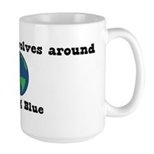 World Revolves Around Blue Mug