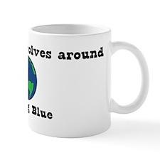 World Revolves Around Blue Mug