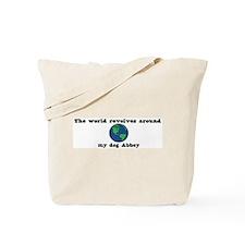 World Revolves Around Abbey Tote Bag