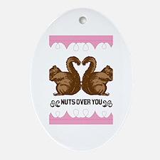 Cute Valentine squirrels Oval Ornament