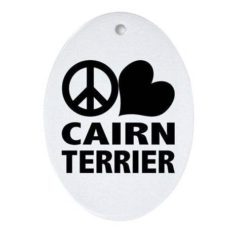 Peace Love Cairn Terrier Oval Ornament