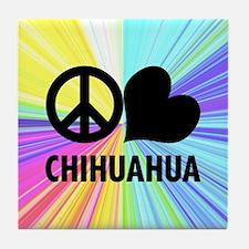 Peace Love Chihuahua Tile Coaster